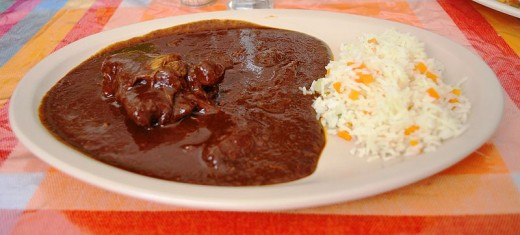Mole sauce with rice
