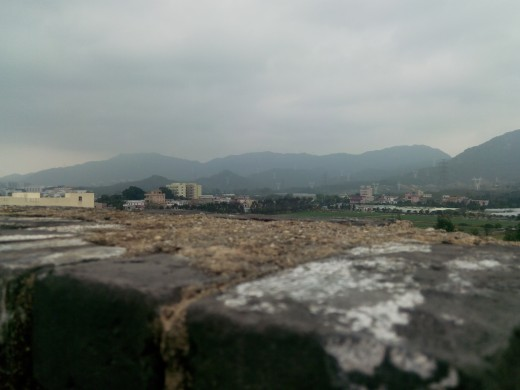 Front view: 360 degree views from Dapeng Fort, Shenzhen, China