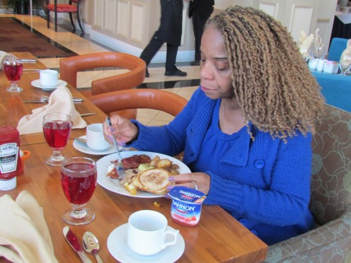 Paulette Coleman Blake, enjoyed a hearty breakfast at the Tenth Floor Garden Grille.