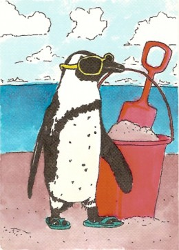 penguin aceo painted