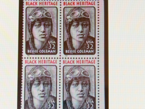 A US Postal Stamp of Bessie Coleman, the first African American to receive a pilots license and become an aviator. She was a relative of  The Coleman Family, who tried out for Family Feud and also enjoyed a spectacular weekend in Philadelphia, Pa.