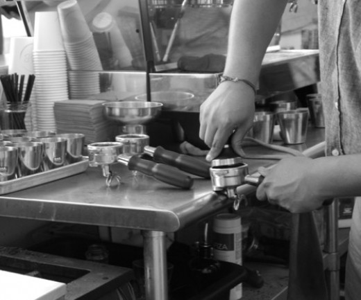 Behind the scenes at G&B Coffee in Los Angeles - watching the barista is not only fun, but informative