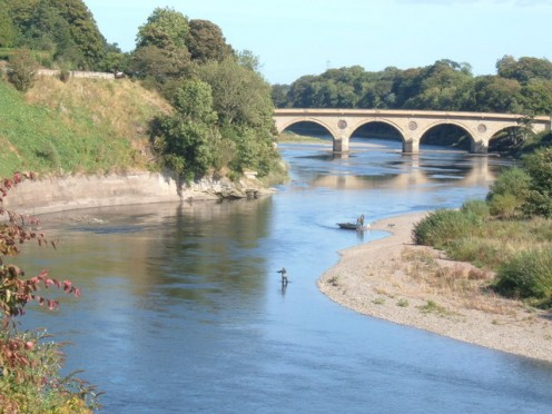 River Tweed at Coldstream. The bridge is at the Border of Scotland and England.