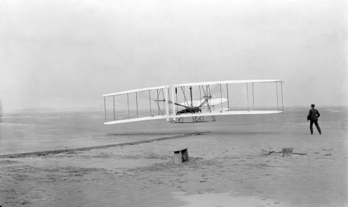 First successful flight of the Wright Flyer, by the Wright brothers. Kitty Hawk, NC, December 17, 1903