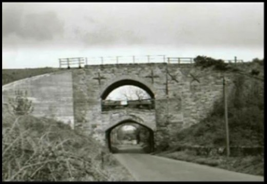 Claphow Bridge between Boosbeck and Brotton - now demolished - was originally built singly then reinforced due to (ironstone) mining subsidence