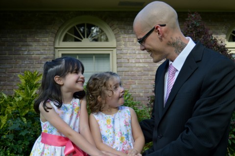 Look at Scarlett gushing with adoration towards her daddy, who had just shaved his head, and I can tell her heart is overflowing with love.  Lily's expression is priceless too.