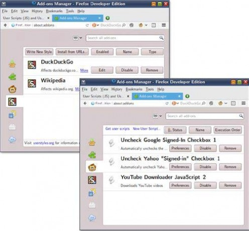 Figure 1: The Greasemonkey and Stylish add-ons for Firefox make it easy to manage and apply user scripts and styles