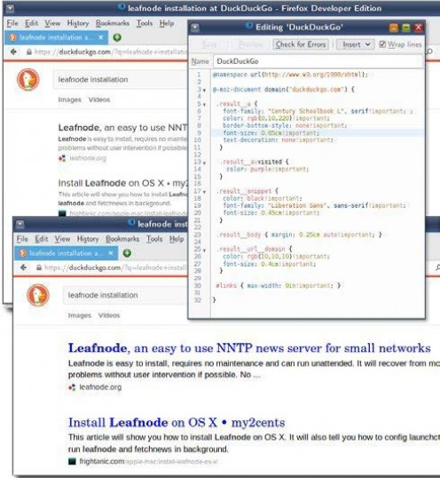 Figure 4: These screenshots show the 'before' and 'after' appearances of a DuckDuckGo search engine results page. The actual stylesheet code is not so important as the scope and possibilities that these screenshots illustrate