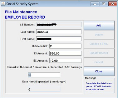 Employee file report includes the names of the employees and their SSS number including the amount of remittance. So it is very important to correctly input the data.