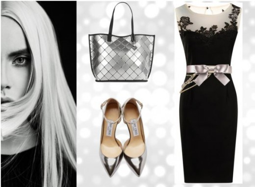 Elegant Black Evening Dress With Silver Shoes And Bag