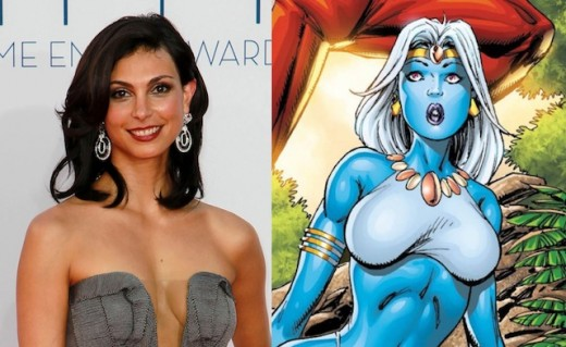 Vanessa, played by Morena Baccarin (left) and how she appears as the mutant Copycat (right)