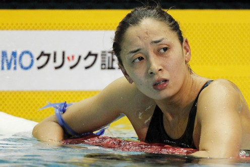 Swimmer Hanae Ito is seen here during day 2 of the 2012 Japan Swim event as she just finished competing in the 200 meter freestyle semifinal.
