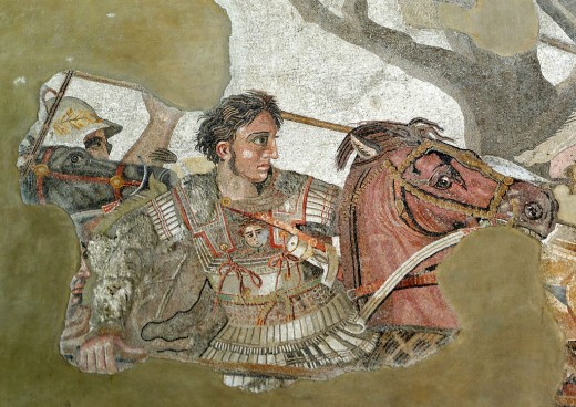 Alexander the Great's shaven image on the Alexander Mosaic, 2nd Century BC