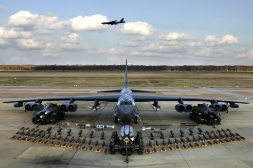 B - 52 Bomber With Its Armaments.