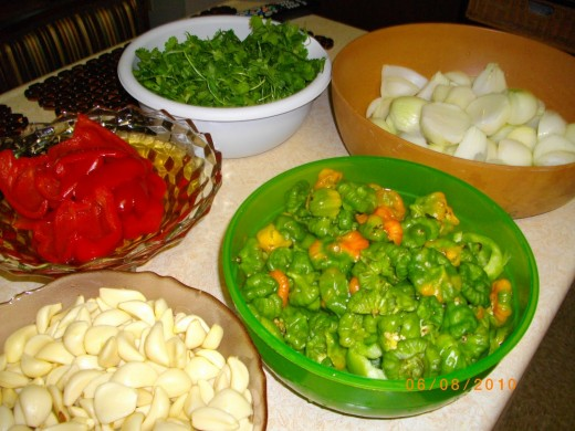 Some of the ingredients used in homemade Sofrito.