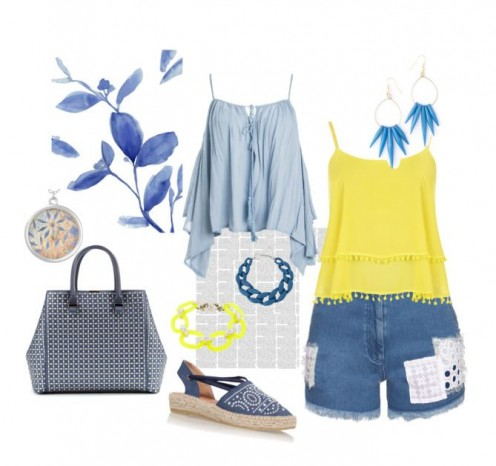 Denim blue and yellow create a happy combination