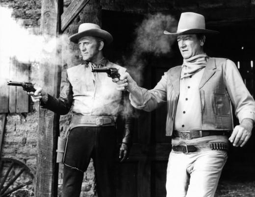 Kirk Douglas and John Wayne in The War Wagon.