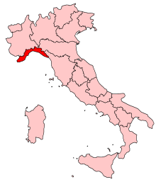 Map location of Liguria, Italy