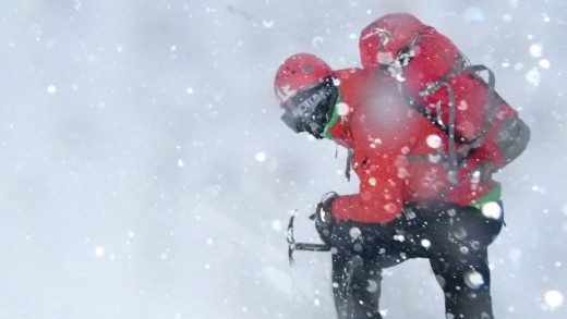 Using an ice axe in blizzard conditions