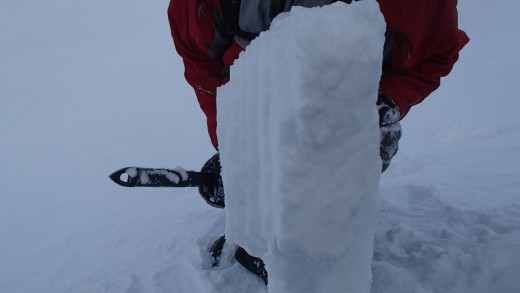 Snow block showing different snow layers
