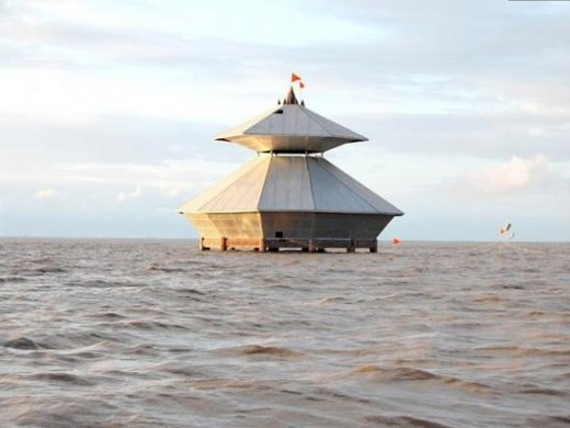 Stambheshwar Mahadev Temple - submerged during low tide