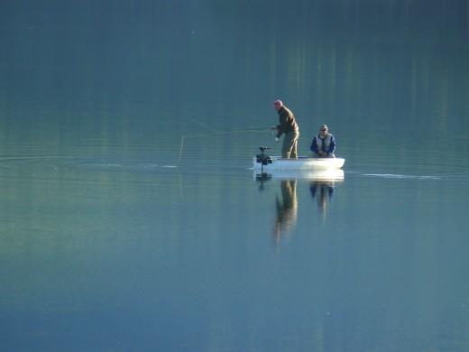 Friends fishing on Lake Gubu