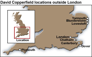Locations of plot activity in David Copperfield