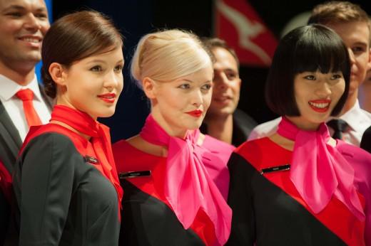 Qantas (Australian airline) cabin crew uniform launch in 2013.