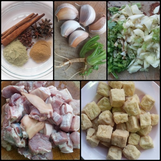 Ingredients for Thai Palo: (top left to bottom right) cinnamon sticks, star anise, sichuan pepper, ground white pepper, five-spice powder; garlic and coriander roots; chopped garlic and coriander roots; pork hock and belly; fried tofu