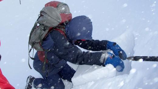 Testing a snow pit