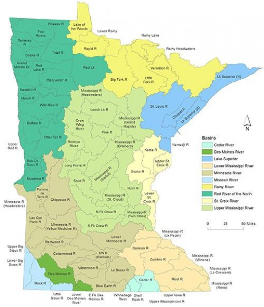 Basins and Major Watersheds in Minnesota