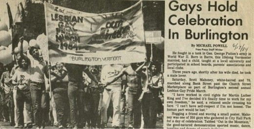 An article about a parade held in 1984 in Burlington, the town in which Sanders first got his start as a political ally to the gay rights movement.