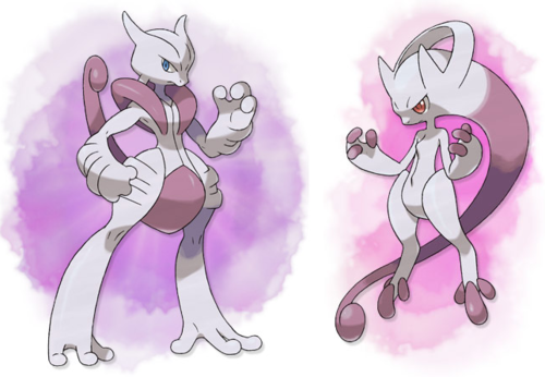 Official art for Mega Mewtwo X and Y