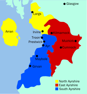 Map of Ayrshire, Scotland