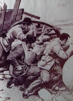 Scene from the Revolution of the Park (Revolucion del Parque), drawing. Herrera de Noble, Ernestina (2010). (Hipolito Yrigoyen edicion). Editorial Sol 90.