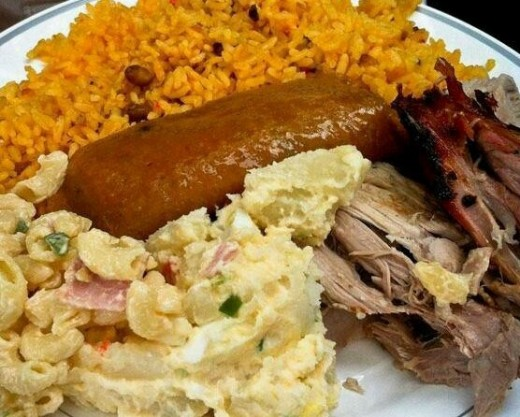Arroz con Gandules, Pernil, Potato and Macaroni Salad