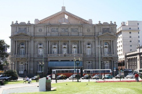 Western entrance of the Colon Opera House seen from Lavalle Square, Buenos Aires.