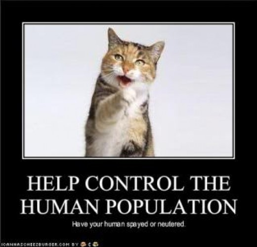 Poster imploring humans to control their population.
