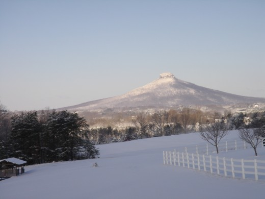 Pilot Mountain covered in snow..