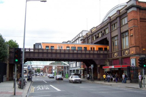 Loop Line Railway entering Pearse Station in Westland Row, Dublin