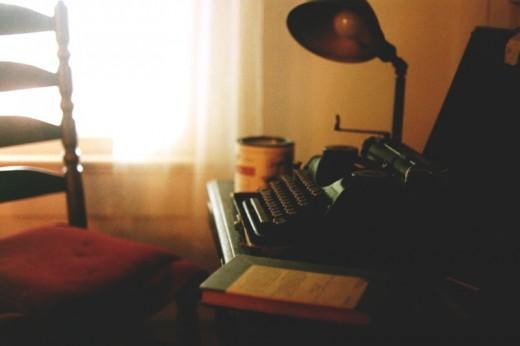 "The ""Faulkner portable"": American novelist William Faulkner's (1897-1962) Underwood Universal Portable typewriter, resting on a tiny desk his stepson helped him build."