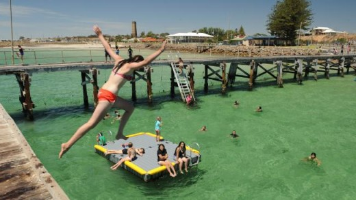 Wallaroo Jetty South Australia.  So much fun jumping off the top pier into the netted off public pool.