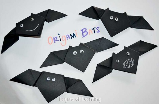 Layers of Learning tells us how to make an Origami Bat - it's the perfect craft idea for kids at Halloween