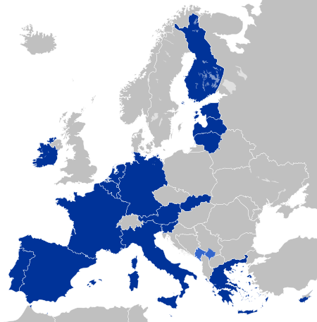 Eurozone members. (Countries with the Euro as their currency)