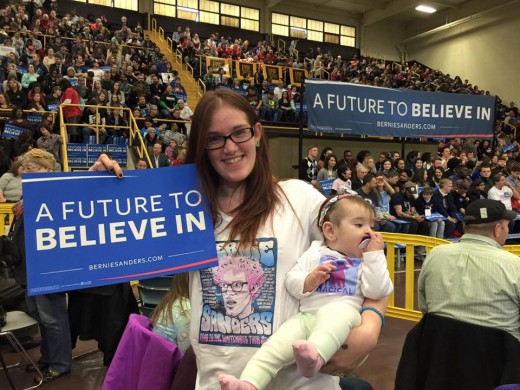 Bernie hugged me and my daughter and told me how much he loved our homemade Bernie shirts. I got to sit in the second row!!!! I also met Jane Sanders and Nina Turner.