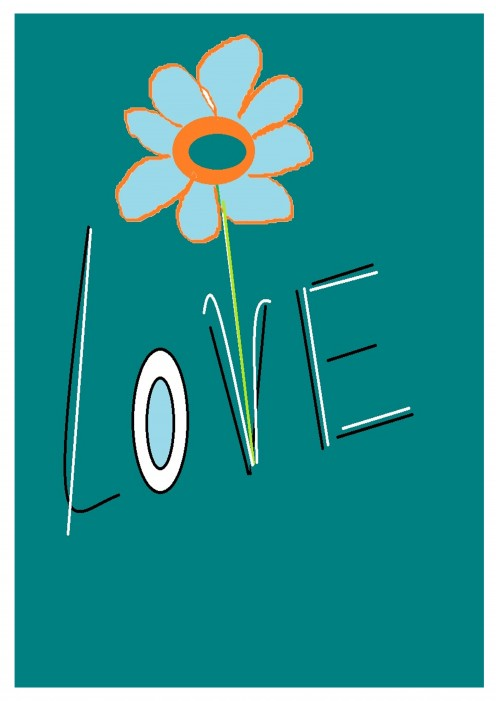 Whimsical daisy art love graphic