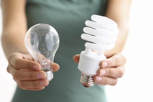 Incandescent bulb vs. a Compact Fluorescent