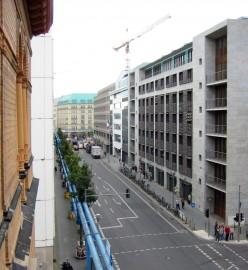 Wilhelmstrasse in Berlin, Germany. View towards Unter den Linden with Hotel Adlon.