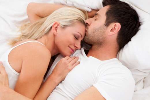 Dating Couple Lying in Bed