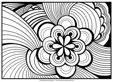 A fairly simple adult coloring design....floral